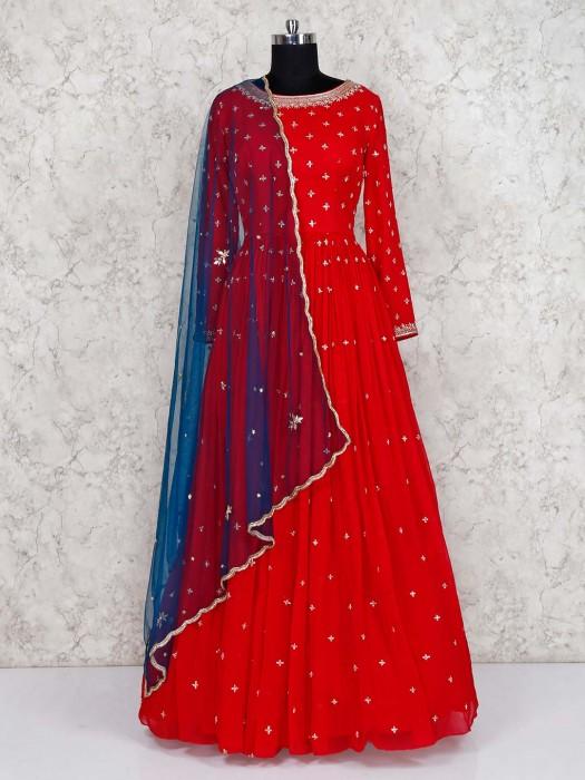 Beautiful Red Georgette Floor Length Anarkali Suit
