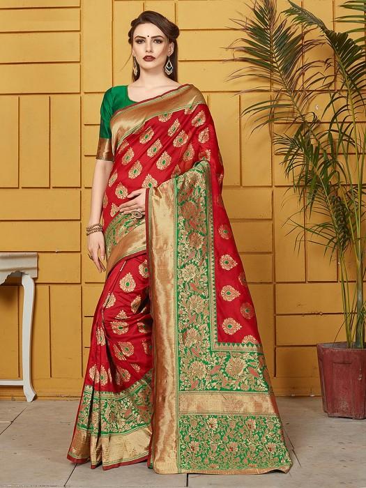 Beautiful Red Saree In Silk Fabric