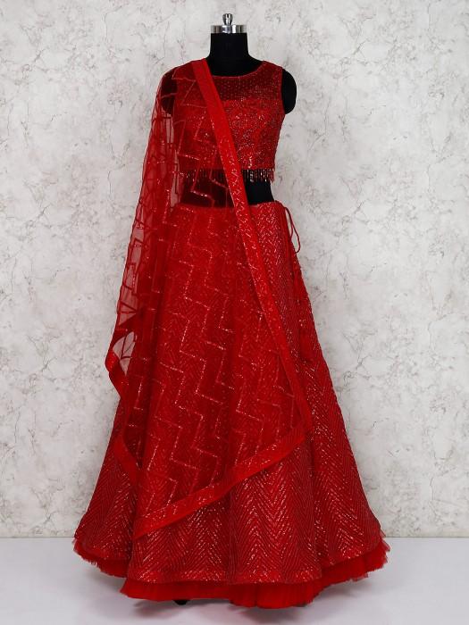 Beautiful Red Wedding Net Lehenga Choli