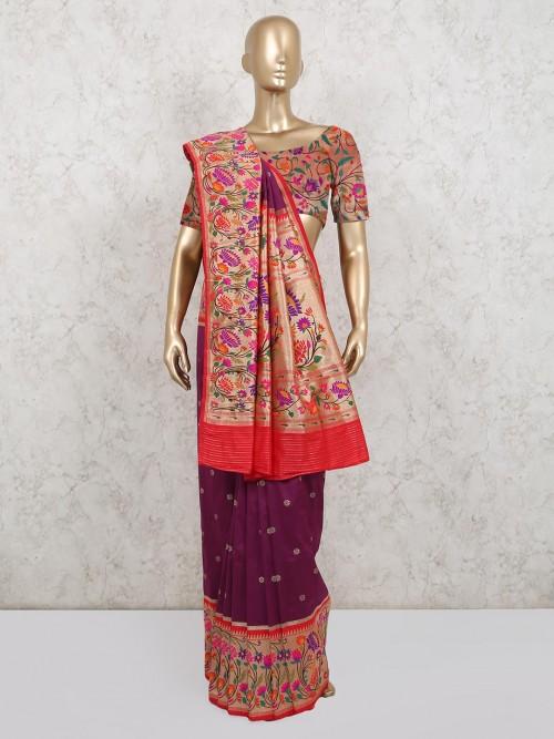 Beautiful Wine Colored Banarasi Silk Saree