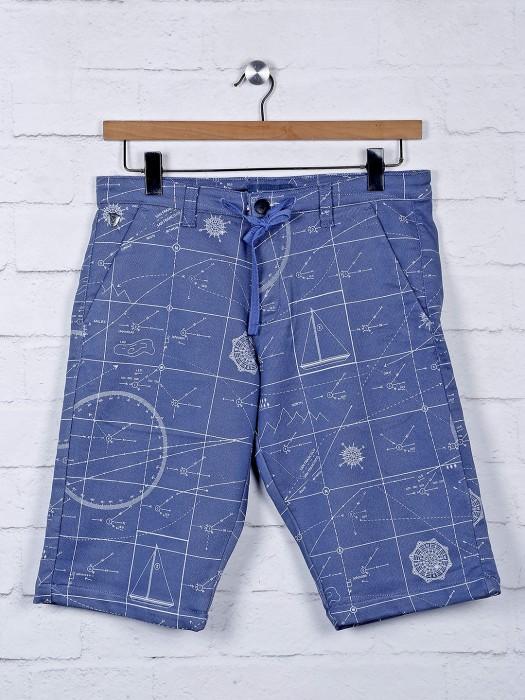 Beevee Blue Hue Printed Cotton Shorts