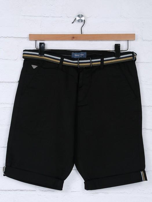 Beevee Solid Black Color Cotton Fabric Short