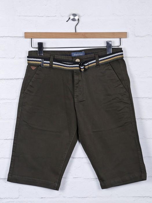 Beevee Solid Olive Hue Slim Fit Shorts
