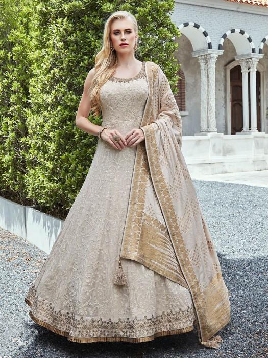 Beige Anarkali Salwar Suit In Georgette