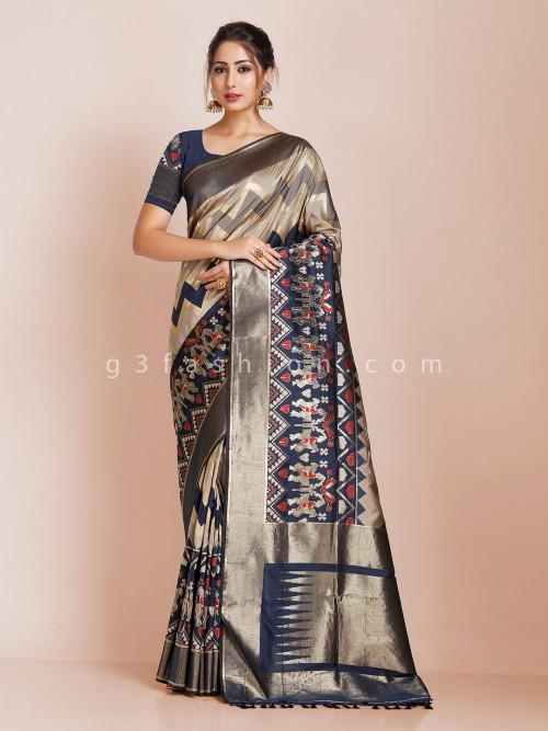 Beige And Blue Wedding Banarasi Silk Saree