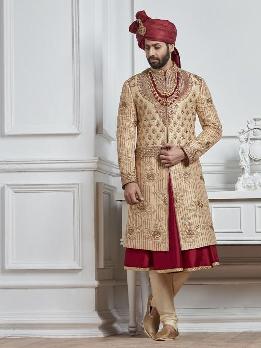 Beige And Maroon Color Silk Sherwani