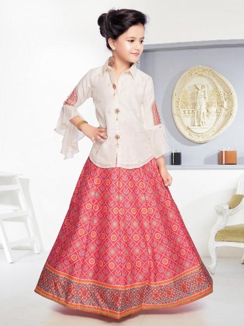 Beige And Red Cotton Silk Peplum Lehenga Choli