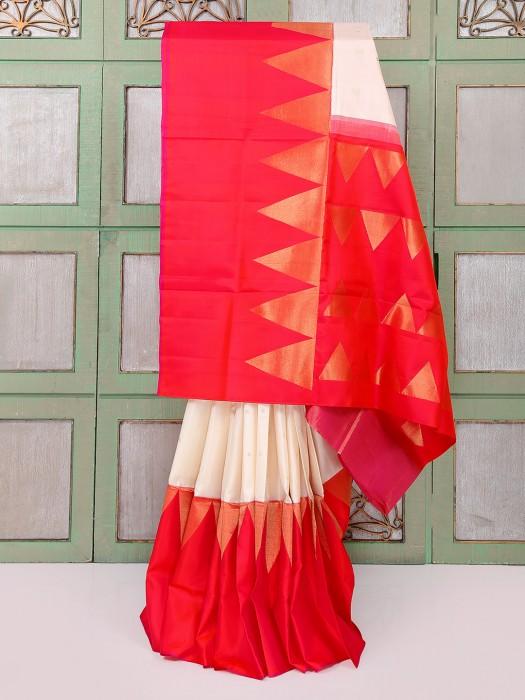 Beige And Red Wedding Wear Geometriv Printed Saree