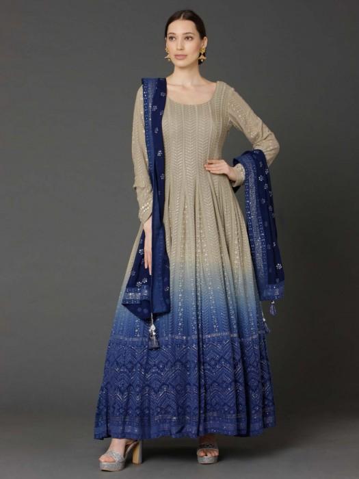 Beige And Royal Blue Georgette Shaded Anarkali Suit