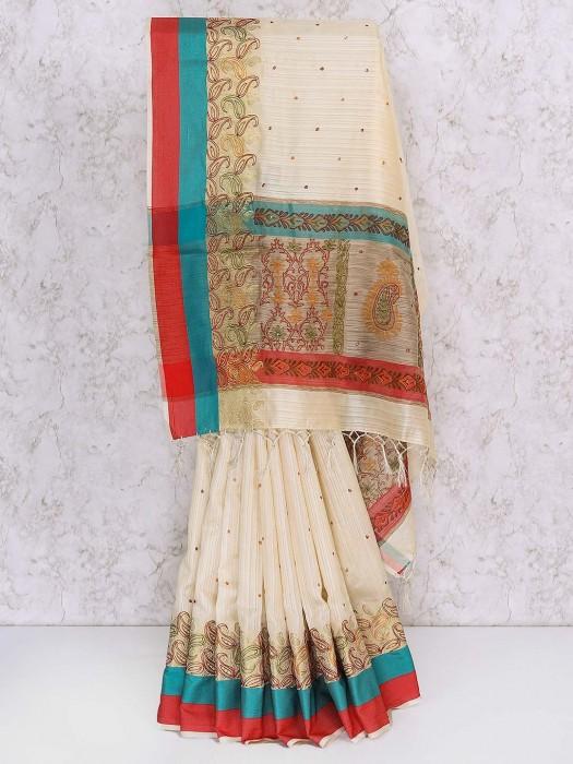 Beige Color Hue Semi Silk Saree