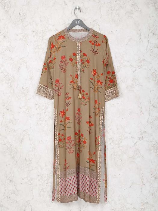 Beige Color Printed Classic Kurti In Cotton