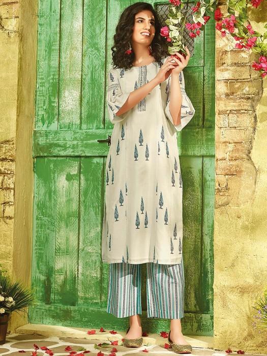 Beige Color Printed Cotton Salwar Suit
