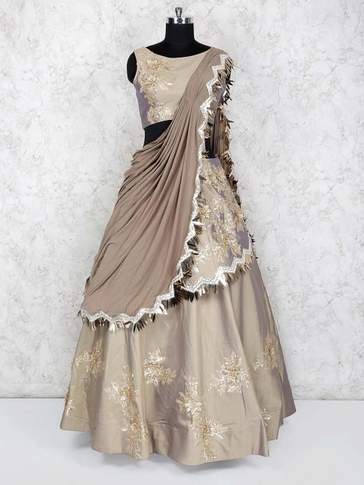 Beige Color Satin Silk Wedding Lehenga Choli