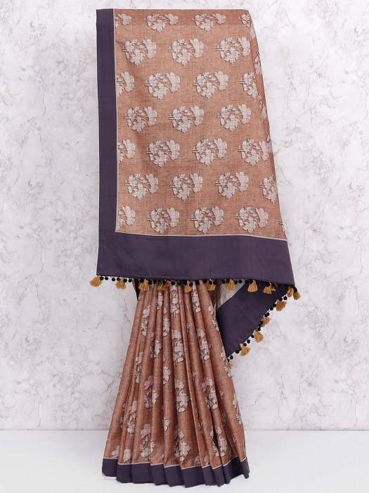 Beige Colored Cotton Fabric Saree