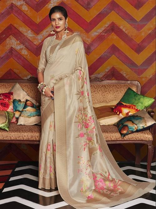 Beige Colored Cotton Silk Saree