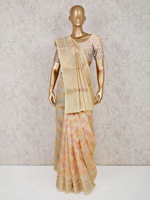 Beige Cotton Banarasi Silk Sari For Reception