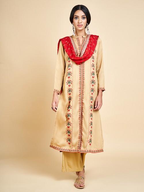 Beige Cotton Punjabi Palazoz Suit