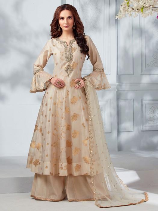 Beige Cotton Silk Beautiful Punjabi Palazzo Suit