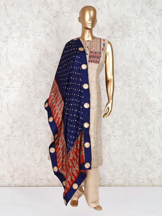 Beige Cotton Silk Party Function Pant Salwar Kameez