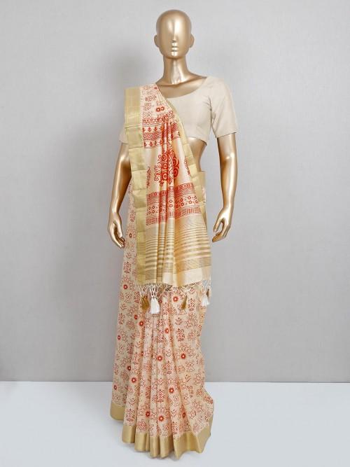 Beige Cotton Silk Saree For Festive Look