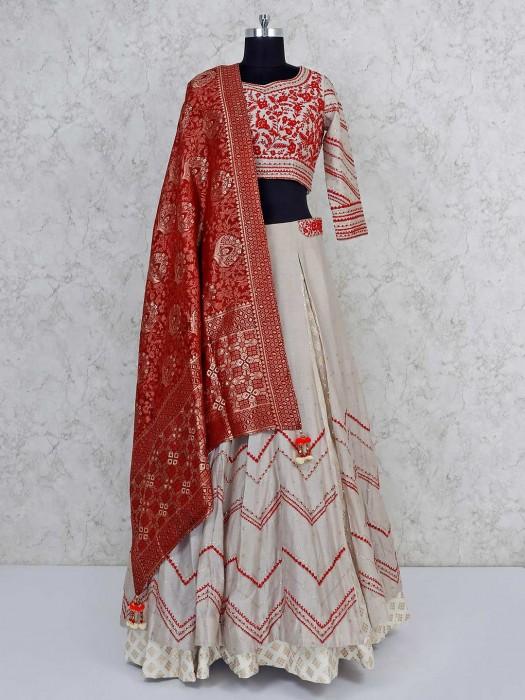 Beige Cotton Silk Wedding Lehenga Choli