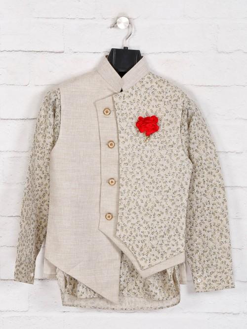 Beige Cotton Waistcoat Set For Boys