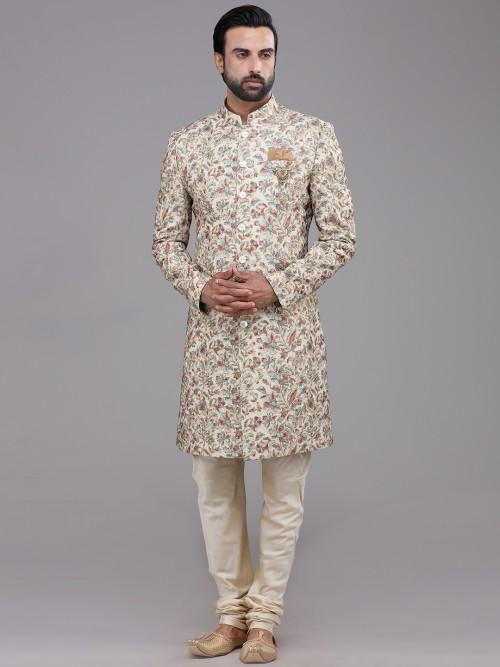 Beige Georgette Designer Wedding Indo Western