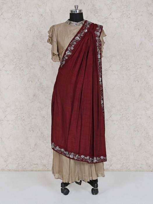 Beige Georgette Festive Salwar Suit