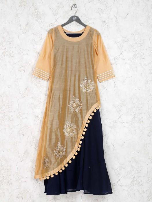 Beige Hue Cotton Fabric Designer Kurti