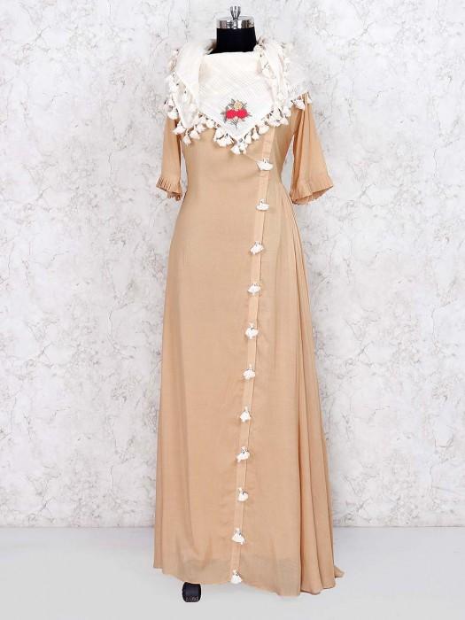 Beige Hue Cotton Fabric Floor Length Salwar Suit