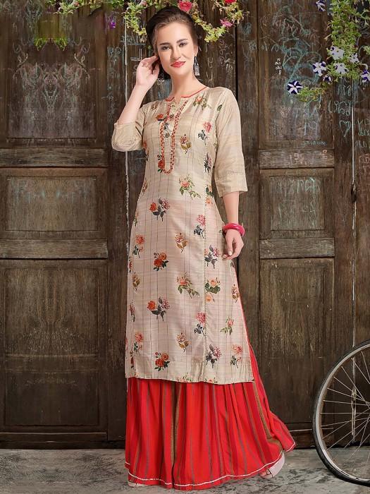 Beige Hue Cotton Silk Punjabi Sharara Suit