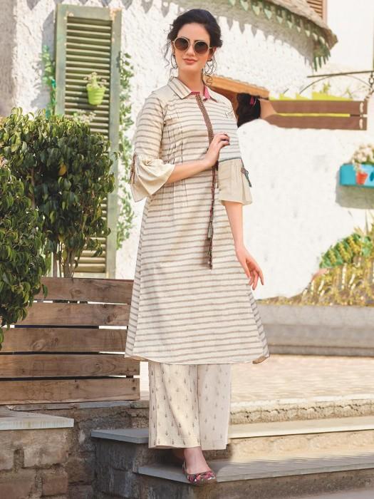 Beige Hue Cotton Stripe Pattern Punjabi Palazzo Kurti Set