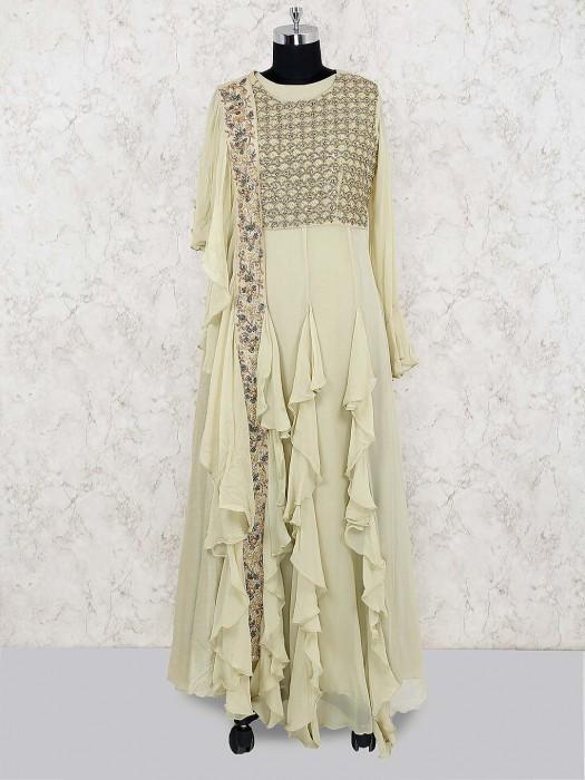 Beige Hue Georgette Ruffle Style Long Salwar Suit