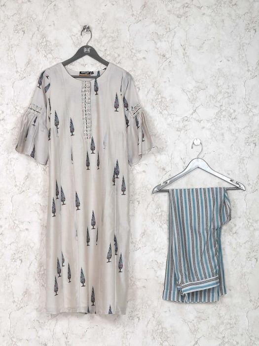 Beige Hue Printed Kurti Set In Cotton Fabric