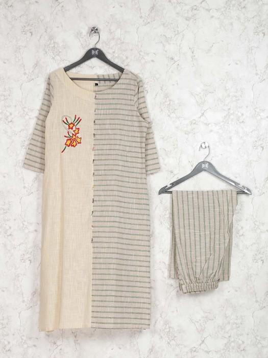Beige Hue Stripe Pattern Cotton Kurti Set