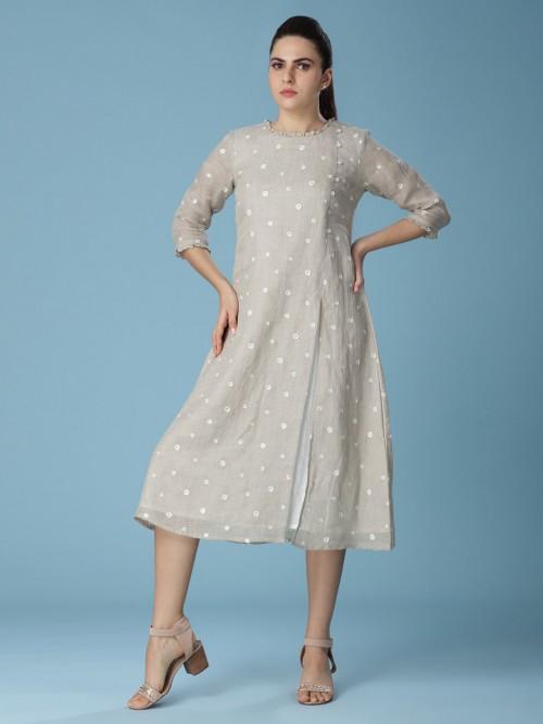 Beige Linen Tunic For Beautiful Women