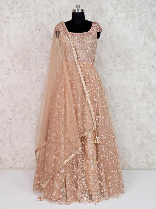 Beige Net Wedding Wear Designer Anarkali Suit