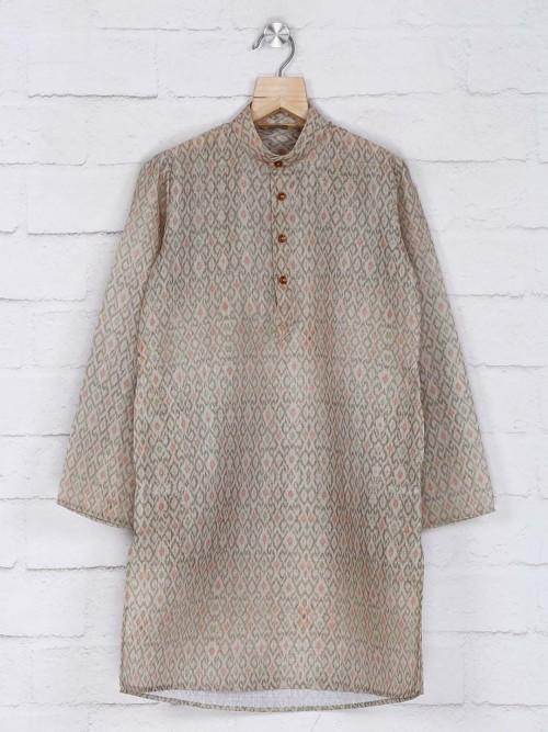 Beige Printed Boys Kurta Suit In Cotton