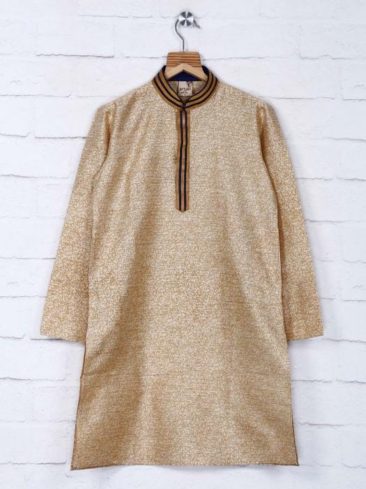 Beige Printed Cotton Festive Kurta Suit
