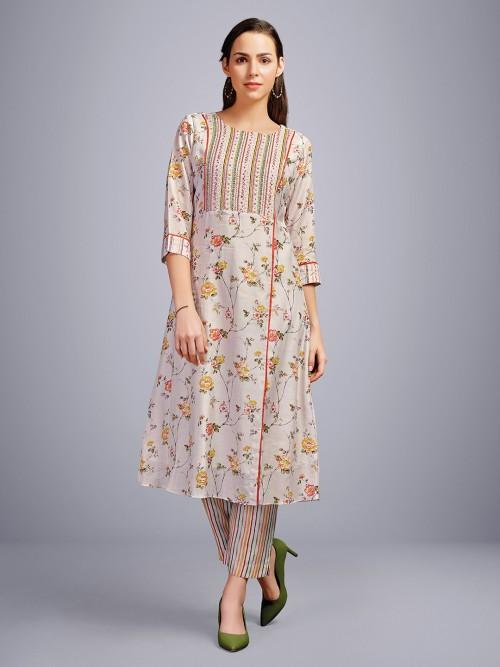 Beige Printed Cotton Festive Punjabi Pant Suit
