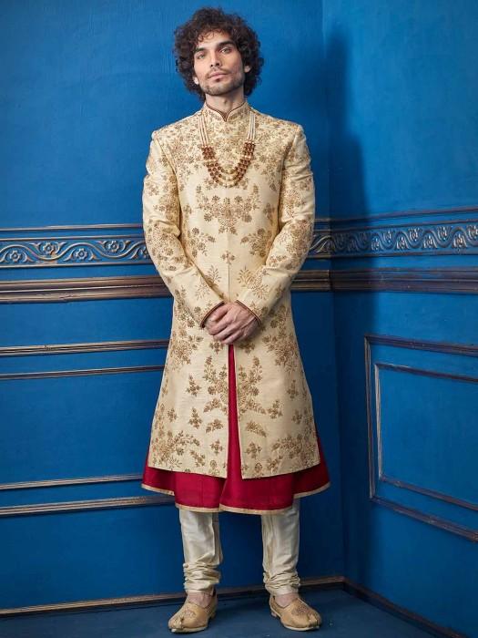 Beige Raw Silk Sherwani For Groom Wear