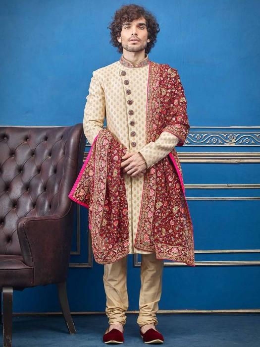 Beige Silk Sherwani With Heavy Dupatta