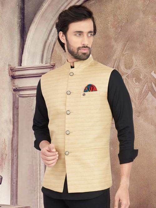 Beige Solid Cotton Silk Waistcoat