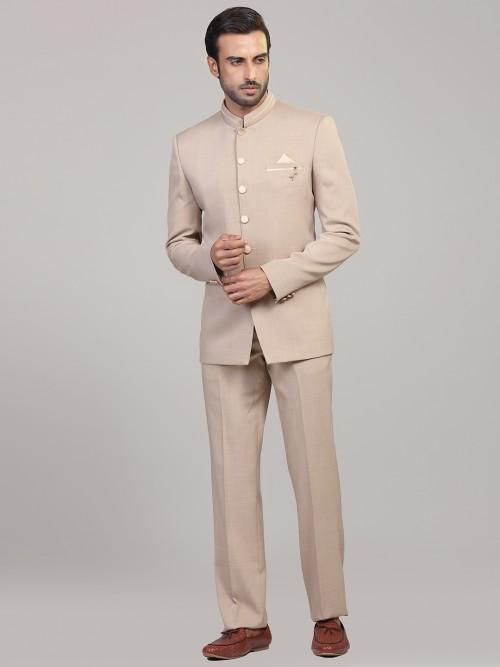Beige Solid Mens Jodhpuri Suit