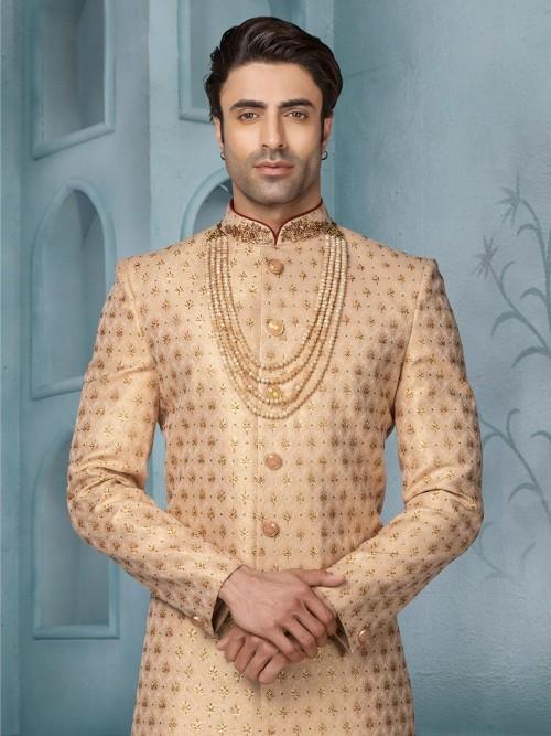 Beige Terry Rayon Exclusive Wedding Wear Indo Western