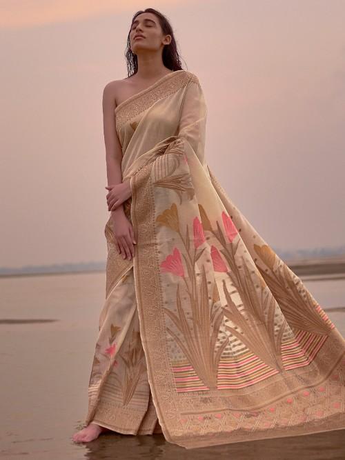 Beige Wedding Wear Linen Saree