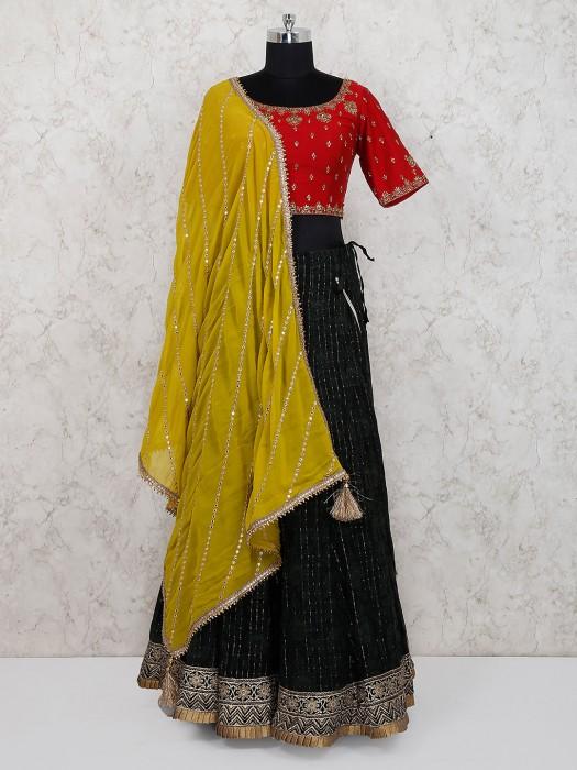 Black And Maroon Hue Cotton Silk Lehenga Choli