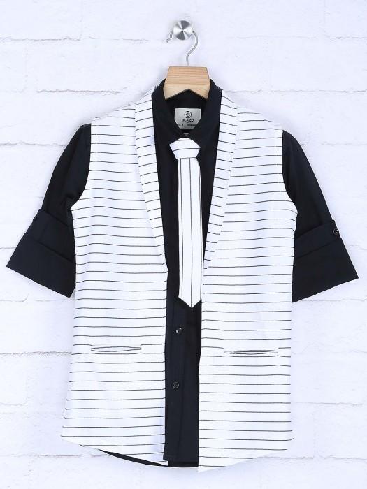 Black And White Stripe Party Wear Waistcoat Shirt