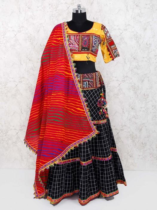 Black And Yellow Cotton Fabric Festive Lehenga Choli