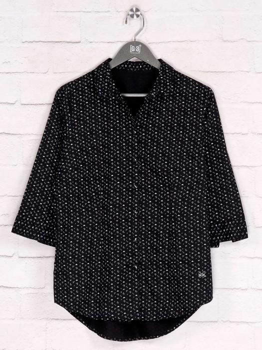 Black Casual Cotton Printed Shirt